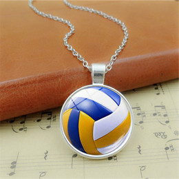 Discount volleyball accessories - Retro volleyball pendant necklace Time Gem Cabochon necklace jewelry Restoring ancient sweater chain Volleyball player c