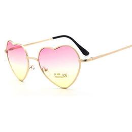 Discount heart shaped mirror sunglasses - 2018 Fashion Heart Shaped Sunglasses Women brand designer metal Reflective Retro Sun Glasses Ray Men Mirror oculos de so