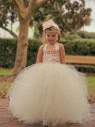 Cute Girls Halter Dresses NZ - Cute Halter Long Flower Girl Dress