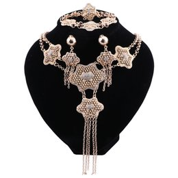 Halloween Indian Costumes For Women UK - Jewelry Sets For Women Vintage African Beads Dubai Gold Color Wedding Jewelry Set Bridal Crystal Costume Jewelery