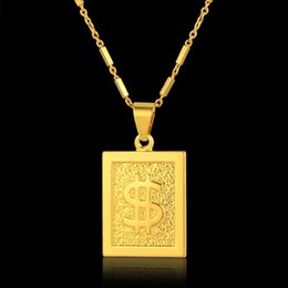 $enCountryForm.capitalKeyWord Australia - Wholesale Gold Dollar Chain Bling Dollar Sign Necklace Square Pendant Necklace Hiphop Men Jewelry Cheap Fashion