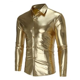 Discount long gold downs - 2018 Designer Shirts personality nightclub style bright shirt men's casual wild long-sleeved shirt Gold Silver Hall