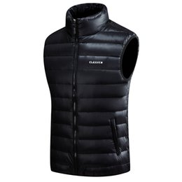 Chinese  Men's Down Vests 4 Color Winter Jackets Waistcoat Men Fashion Sleeveless Solid Zipper Coat Overcoat Warm Vests Plus Size S-5xl manufacturers