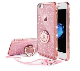 Discount rhinestone rings case - Akaso Luxury iphone Case Diamond Rhinestone iphone Case For Iphone 6 6s 7 7plus 8 8plus Case Ring Strap