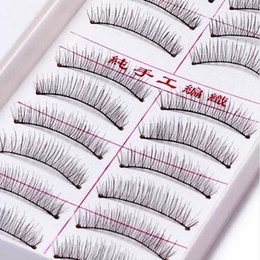 wholesale eyelashes transparent NZ - 100boxes 10 Pairs box False Eyelashes Transparent Band Handmade Long Natural Fake Eye Lashes Black Hot Sale Makeup extension Tools