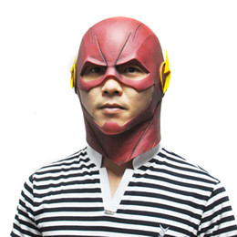 Flash Costume UK - 2018 Hot Sale The Flash Mask DC Movie Cosplay Costume Prop Halloween Full Head Latex Party Masks