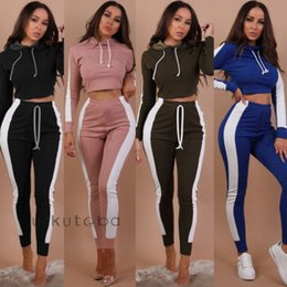 8914ebf342945 New Women Set Casual Hooded Yoga Crop Tops High Waist Workout Long Pants  Running Sports Two Piece Outfits
