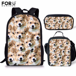 School Book Bags NZ - FORUDESIGNS 3pcs set Husky Shiba Dog Printed Kid School Bag Set 16inch Book Bag Shoulder Backpack Children Bookbag Satchel