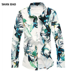 Plus Size Floral Shirt NZ - Hot Sale Men's Floral Shirt 2018 Autumn New Chinese Style Flower Long Sleeve Shirt Men Slim Fit Mens Casual Shirts Plus Size 7XL