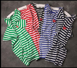 Play Tee Australia - Top Quality Men Black Embroidery Red Heart DES play GARCONS CDG Embroidered short Sleeve wave point stripe Classical T-shirts Women Tee