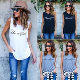 Vest top printing online shopping - Women Cotton Sleeveless Vest Tank Tops Ladies Thankful Printed Tee Shirts Blouse Letter Printed Crop Tops Colors OOA4547