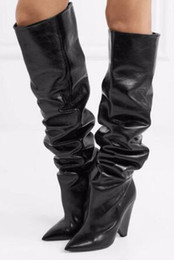 over knee boots spike UK - 2018 Newest Fashion Women Pointed Toe Black Brown Leather Over Knee Spike Heel Boots Folded Long High Heel Boots Sexy Boots