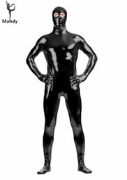 Purple Body Suit Costume Australia - Shiny Metallic Eyes Open Black Tight Zentai Costume Bodysuit One Piece Spandex Mens Second Skin Suits Zip Full Body Unitards