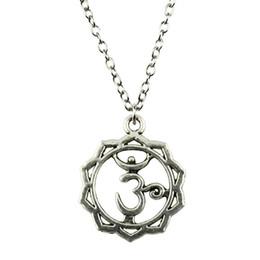 Necklaces Pendants Australia - WYSIWYG 5 Pieces Metal Chain Necklaces Pendants Women Necklace Jewelry Yoga Om 23x19mm N2-B10539