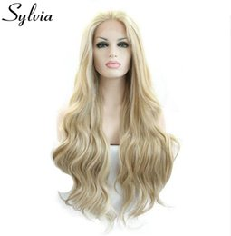 front lace wigs for white women 2019 - sylvia blonde white mixed color loose wave synthetic lace front wigs natural blonde resistant fiber hair for white woman