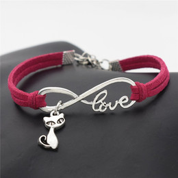 $enCountryForm.capitalKeyWord NZ - Fashion Infinity Love Cat Fox Charm Bracelets for Women Men Braided Rose Red Leather Suede Rope Bangles Handmade Jewelry Gifts Drop Shipping