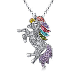 China 3 colors kids and women necklace colorful unicorn diamond pendant necklace children sweater chain jewellery accessories free shipping cheap kids jewelry china suppliers