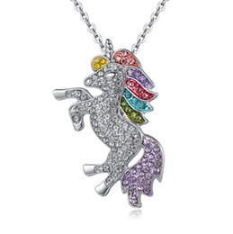 Wholesale 3 colors kids and women necklace colorful unicorn diamond pendant necklace children sweater chain jewellery accessories