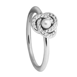 854e09f6e 925 Sterling Silver Jewelry Luminous Love Knot Ring White Crystal Pearl and  Clear CZ Wedding Rings for Women Fine Jewelry FLR120