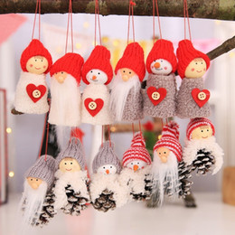 Welding Equipment 6pcs Xmas Dolls Decorative Christmas Mini Pine Cone Hanging Dolls Pendants For Decorating Window Door Fireplace Christmas Tree