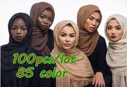 Cotton Viscose Scarves NZ - 100pcs lot Big size bubble viscose cotton plain popular shawls hijab autumn wrinkle wrap muslim 85 color scarves scarf 180*100cm Y18102010