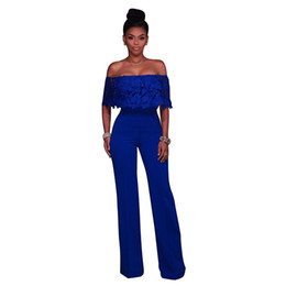 d83ac0d2298 Strapless Off Shoulder Lace Jumpsuit Long Pants Women Rompers Sexy Club  Ladies 2018 Solid EleFemale Jumpsuits Overalls