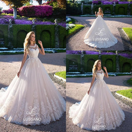 $enCountryForm.capitalKeyWord NZ - 2018 Country Lace Wedding Dresses Sheer Crew Neck Cap Sleeves A Line Tulle Bridal Gowns For Garden Corset Back Long Sweep Train BA8281