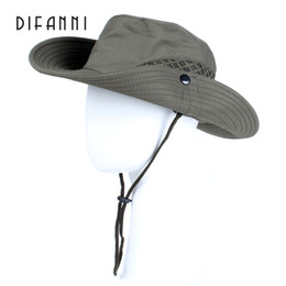 6f9eca03 Difanni Summer Men Women Solid Color Bucket Hat with String Fisherman Cap  Military Panama Safari Boonie Hiking Hat Unisex Sunhat