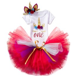 Chinese  New INS baby girls unicorn suits rompers+tutu skirts+headband 3pcs girl outfits newborn babies holidays clothing set toddler gifts manufacturers