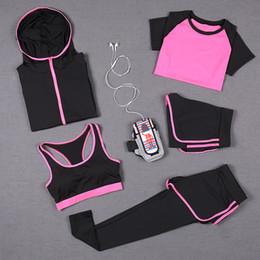Yoga Short Top Sets NZ - 5 PCS Women Yoga Set for Running T-Shirt Tops Sports Bra Vest Fitness Pants Short Sleeve Shorts Pant Gym Workout Sports Suit Set Sportswear