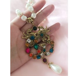 Necklaces Pendants Australia - Retro Multicolor Crystal Luxury Necklace Pearl Chain Letters Brand Designer Pendant Necklace Brand Jewelry Top Quality