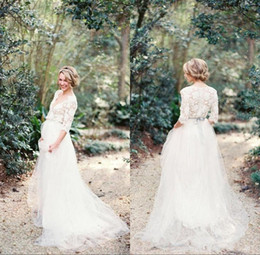 China Modest 2017 Romantic Bohemian Lace Wedding Dresses with Half Sleeves Plunging Neckline Beading Sash Tulle A Line Pregnant Wedding Gowns supplier wedding dresses plunging necklines suppliers