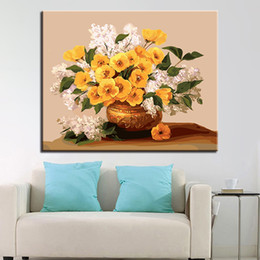 Framed canvas white flower art painting dhgate uk diy oil painting by numbers kits coloring handpainted yellow flowers with white flowers pictures on canvas home decor wall art mightylinksfo