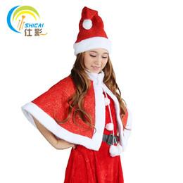 Discount gold linen suits - 2017 new style Santa Claus bright gold velvet shawl two-piece suit Christmas men show dress women models costumes costum