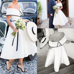 short empire wedding dress Australia - Black and White Wedding Dress vintage retro Tea Length Off the Shoulder Simple Satin A-Line Short country Bridal Gowns