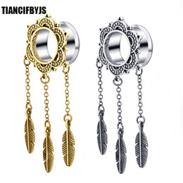 dangle plugs 2019 - Body Jewelry Piercing Feather Dangle Ear Plugs Tree Hollow Flesh Tunnel Earring Expander Earlet cheap dangle plugs
