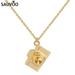 mini necklace camera 2018 - SAUVOO 2018 Mini Fashion Cartoon Camera Pendant Necklace For Women Gold Color 1.4mm Width Link Chain Necklace Kolye Jewe