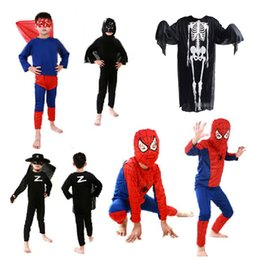 lycra superhero suits 2019 - 6 Style Boys girls Halloween Superhero Cosplay suits 2018 New Kids Avengers costume Spiderman Zorro skeleton cosplay set
