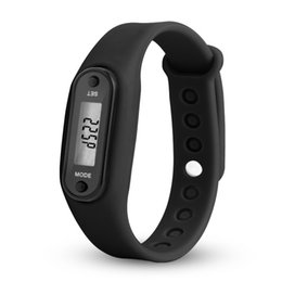 battery pedometers Australia - Running Pedometers Silicone LCD 12-hour 24-hour Dial Battery Operated Wristband Sports Bracelet children kid pedometer