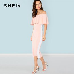 145b2129431f SHEIN Pink Elegant Party Flounce Foldover Front Off Shoulder Contrast Tape  Natural Waist Dress Summer Women Going Out Dresses
