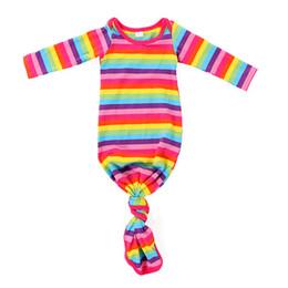 $enCountryForm.capitalKeyWord NZ - Mint White Stipe Baby Gown Sprint Wholesale Newborn Sleeping Bag Infant Baby Gown Cotton Stripe Sleeping Gowns Girls Boys