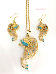 Blue Bird Bracelet online shopping - Solid Gold Color Filled Bird of Paradise Pendant Necklaces and Earrings for Women Papua New Guinea Jewelry PNG National Style