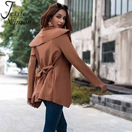 $enCountryForm.capitalKeyWord Canada - Jessie Vinson High Street Belted Short Trench Coat Women Fashion Streetwear Cardigan Coat Autumn Winter Casual Brown Outwear