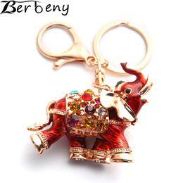 3d crystal keyring online shopping - Berbeny D Auspicious Elephant Key Holder Chains Whole Enamel Colorful Crystal Bag Pendant Keyrings KeyChains For Women K280