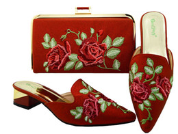 handbag red point UK - Hot sale red color low heel 3.8CM ladies shoes woth flowers embroidery african shoes match handbag set for dress MM6003