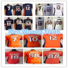 dd8375047 Men Women Youth Denver Broncos Jerseys 18 Peyton Manning 58 Von Miller 10  Emmanuel Sanders 12 Paxton Lynch 7 John Elway Football Jersey
