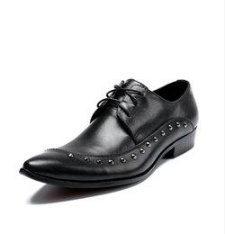 $enCountryForm.capitalKeyWord NZ - 2018 New Style Big Size Men Dress Shoes Quality Mens Formal Lace-up luxury rivets Business Oxford Shoes Brand Men Wedding Pointy Shoe G197