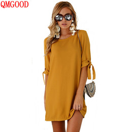 Wholesale QMGOOD Plus Size Sexy Mini Chiffon Dress for Women Solid Color Casual Summer Dresses O Neck Beach Dress Europe Tide S XL