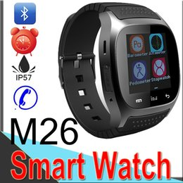Discount bluetooth wrist alarm M26 Smart Watches Wireless Bluetooth Smart Bracelet Camera Remote Control Anti-lost Alarm dz09 T8 watch for IOS Android