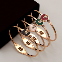 Discount stainless steel friendship bangles - Boutique Stainless Steel Fashion Color Diamond 18K Rose Gold Plated Love & Friendship Everlasting Women Bracelet Jewelry